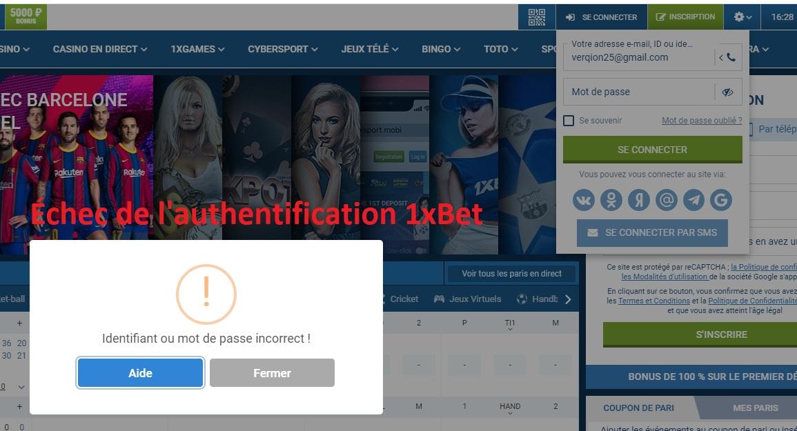 l'authentification 1xbet