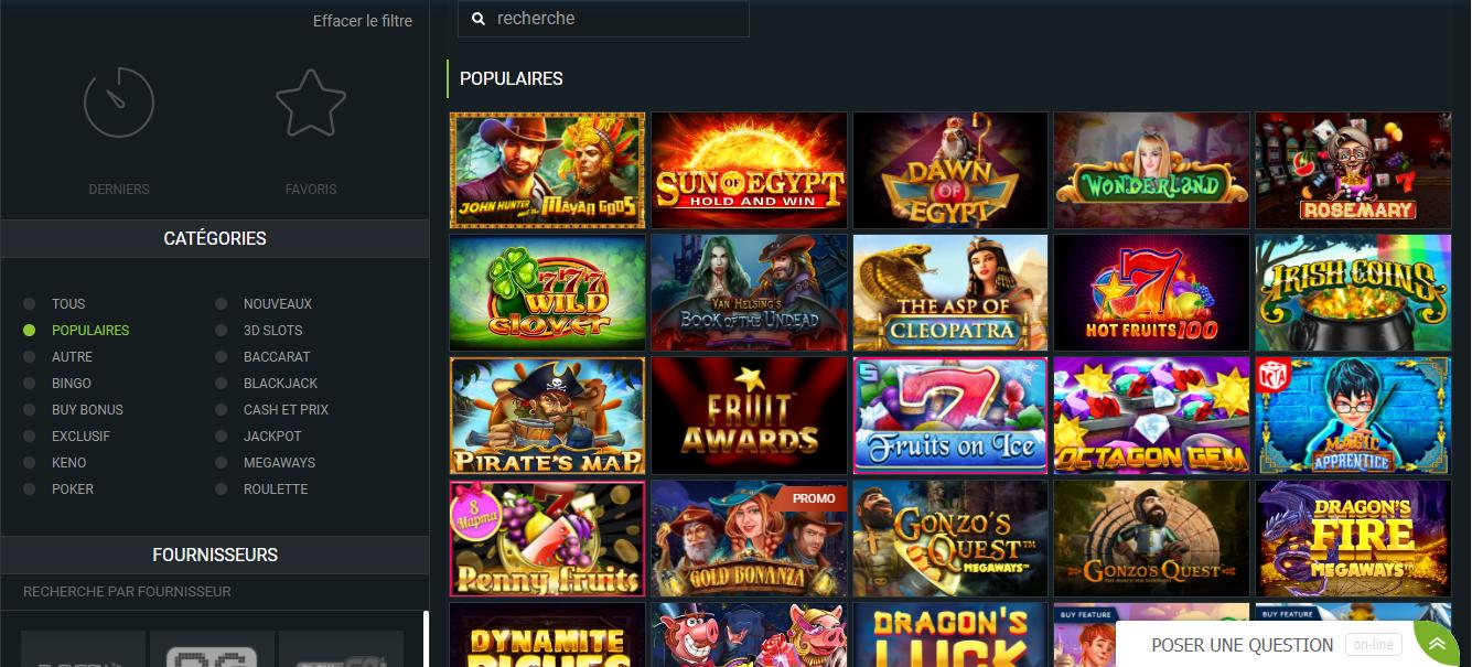 Les meilleurs jeux du casino 1xbet