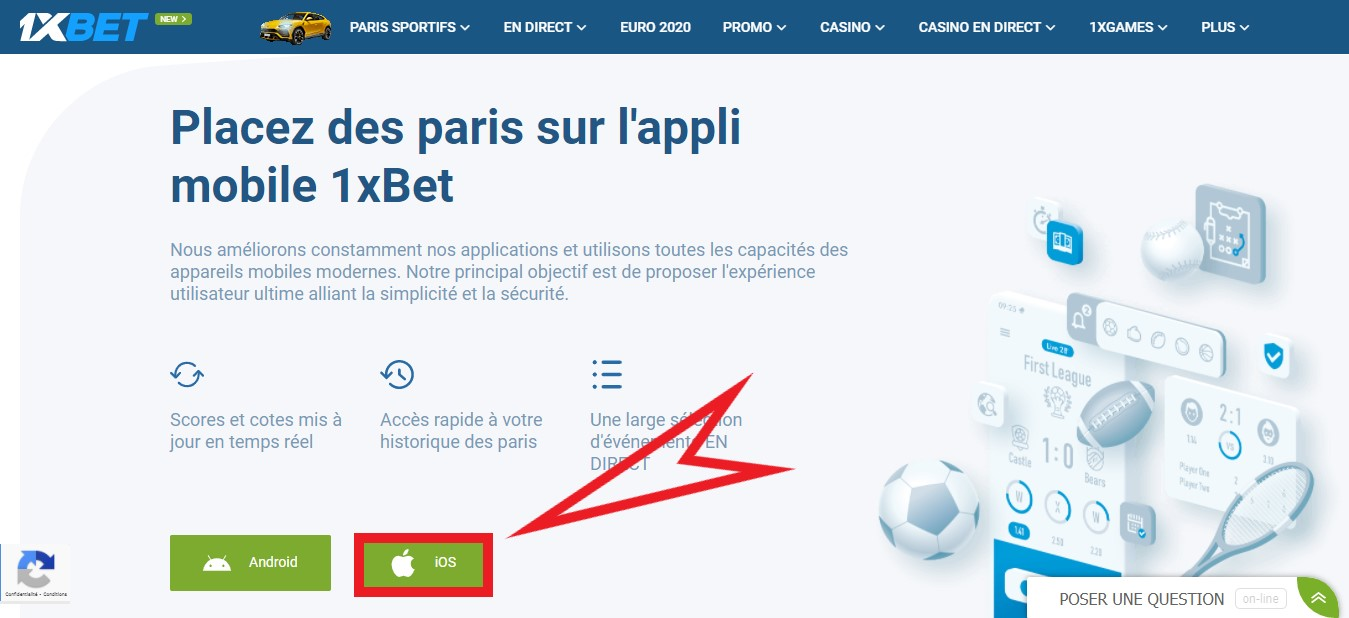 Telecharger 1xBet pour iPhone